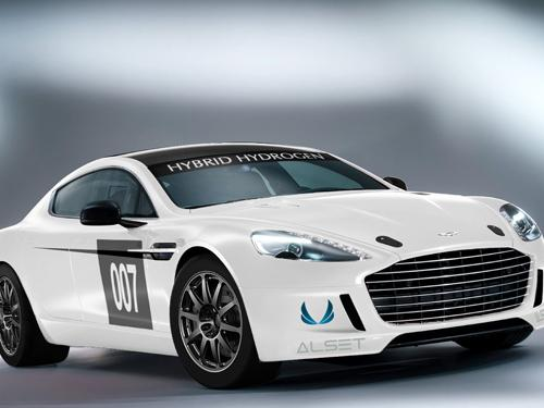 Aston Martin's Hybrid Hydrogen Rapide S features a twin-turbocharged V12 engine that burns hydrogen or gasoline. It will run in the 24-hour ADAC Nurburgring race in Germany on May 17.  (Source: Aston Martin)