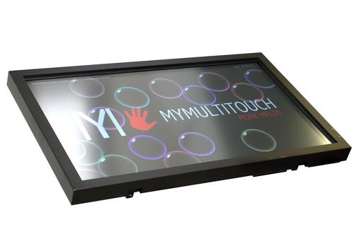 The Alvaro GIANT, a 3,840 x 2,160 Ultra-High Definition display, outputs at 4K resolution as it sits atop an equally large metal structure that allows the screen to rotate from upright to a completely flat position.   (Source: MyMultitouch)