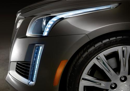 The 2014 Cadillac CTS midsize luxury sedan makes its world debut at the New York Auto Show in March. It is said to be the first vehicle to employ dual LED-based daytime running lights, which consist of two groups of eight white LEDs at each headlight.   (Source: Cadillac)