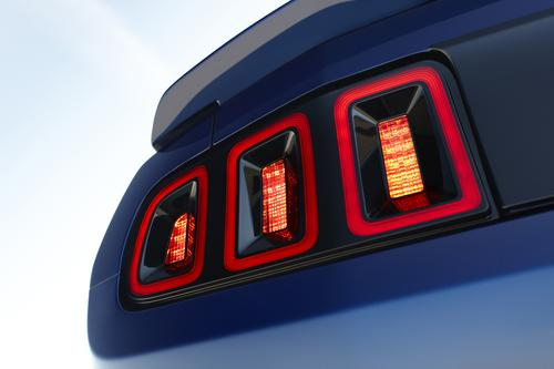 The 2013 Ford Mustang uses three LED 'ropes' around its iconic three-bar rear lights.   (Source: Ford Motor)
