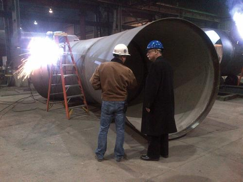 US Rep. David McKinley, P.E. (right), earned his Bachelor's degree in civil engineering at Purdue in 1969. After graduating, he worked as an engineer for 12 years, eventually founding his own firm. A Republican, McKinley has represented West Virginia's 1st District since 2011.  He is seen here visiting Northwest Pipe Company in Parkersburg, WV. 'The analytical skills and technological expertise developed as an engineer have been vital in Congress,' said Rep. McKinley. 'Engineers base decisions on facts, not ideology. That's the same approach taken in addressing issues and solving problems in Washington. It's my hope that more engineers will heed the call of public service and bring these problem-solving skills to Washington.'   (Source: Office of US Rep. David McKinley)