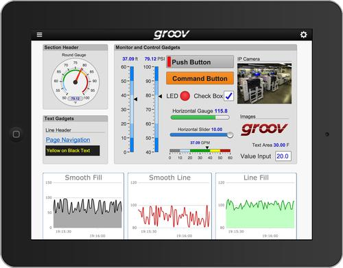 The groov view apps for iOS and Android allow smartphone and tablet users to easily display customized screens of process data.   (Source: Opto 22)