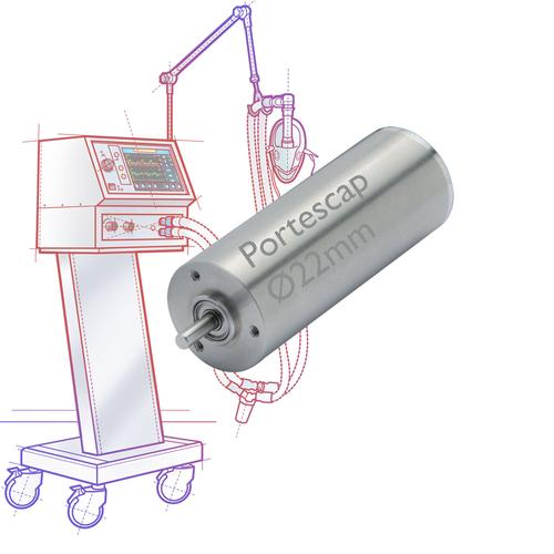 New slotless, brushless ECS Series motors from Portescap are targeting hospital invasive ventilators and home care bi-level respiratory machines, where high-speed operation and highly dynamic control are used to quickly adjust the pressure output of the ventilation system.   (Source: Portescap)