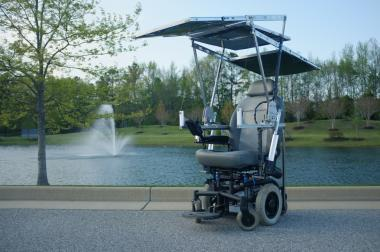 A student team at the University of Virginia's School of Engineering and Applied Science designed a solar-powered wheelchair that won first place in the 2012 World Cerebral Palsy Day 'Change My World in One Minute' competition. The chair is powered by a retractable solar panels at the top that can work even in cloudy conditions and were inspired by the retractable roofs on convertible automobiles.   (Source: University of Virginia)