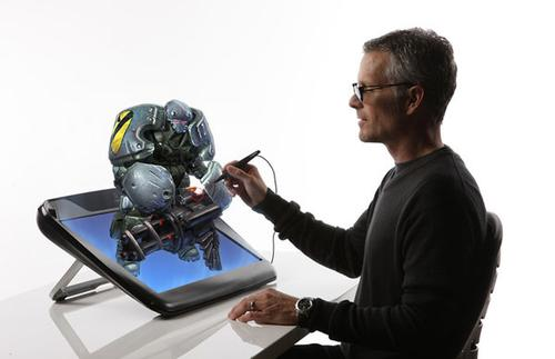 zSpace tablet and pen. The user wears special glasses to see the 3D image on the tablet's screen. The pen interface is how most of the interaction with the digital objects occurs.   (Source: Infinite z)