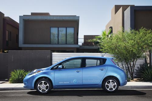 The fuel for a vehicle such as the Nissan Leaf costs, on average, about one-third that of a similar gasoline-burning car.   (Source: Nissan)