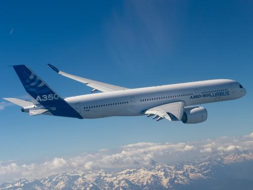 The Airbus A350 XWB, composed of more than 50 percent carbon composites, took off on its successful maiden flight on June 14 at the Paris Air Show.   (Source: Airbus)