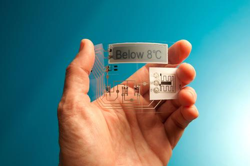 Memory and sensors together in a disposable electronic label.   (Source: Thin Film Electronics)