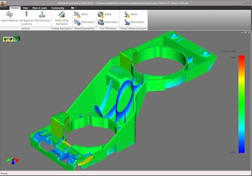 Simulation products, such as Autodesk Simulation DFM, look for thickness variations that can cause manufacturing problems.