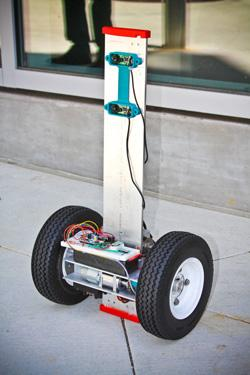 Researchers at the University of California-San Diego have developed a Segway-like autonomous robot that can act as a scout for firefighters in commercial and residential blazes.   (Source: University of California-San Diego)
