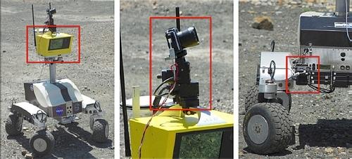 Figure 2: Left to right: scanning LIDAR, GigaPan, microscopic imager.   (Source: NASA IRG)