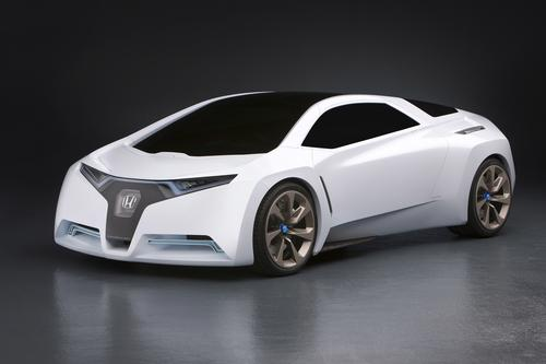 Honda rolled out the FC Sport, a three-seat hydrogen-powered concept car, at the 2008 Los Angeles Auto Show.(Source: Honda)