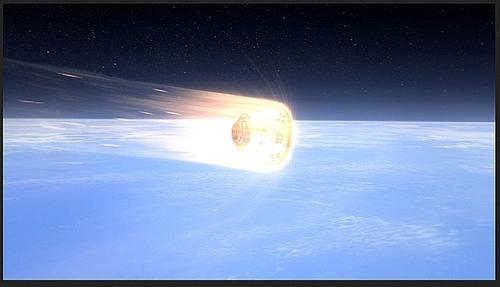 Protected by a PICA-X heat shield in this artist's rendition, the Dragon spacecraft re-enters the Earth's atmosphere at around seven kilometers per second (15,660 mph), heating the exterior of the spacecraft as high as 2,000C (3,620F)   (Source: SpaceX)