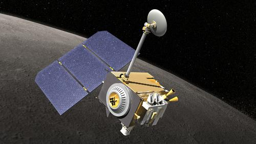 The Lunar Reconnaissance Orbiter (LRO), shown here in an artist's conception, is currently orbiting the moon, carrying an instrument that's shown plastic can help protect astronauts from cosmic radiation. That instrument, the Cosmic Ray Telescope for the Effects of Radiation (CRaTER), can be seen at the bottom left corner of the spacecraft.   (Source: Chris Meaney/NASA)
