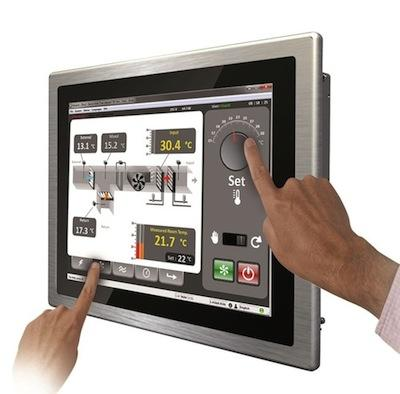 AIS industrial multi-touch screen-panel PC computers or panel-mount HMI panels combine an Intel Atom dual core processor with projected capacitive touch technology in an industrial-grade flat panel.   (Source: American Industrial Systems)