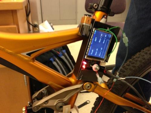 Here is the touchscreen mounted on the bicycle.