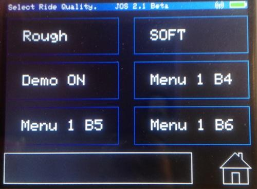 The ride selection screen helps you pick your ride quality.