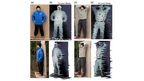 These figures were photographed from 910m away. The images on the left had more time to collect data. Those on the right show noise from a hasty picture. Facial distortions are due to weak reflection from skin.(Source: Heriot-Watt University)