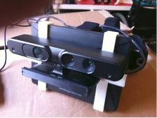 A modification to the Oculus Rift upgrades the headset with stereo cameras from an Xbox Kinect device .   (Source: imgur.com)