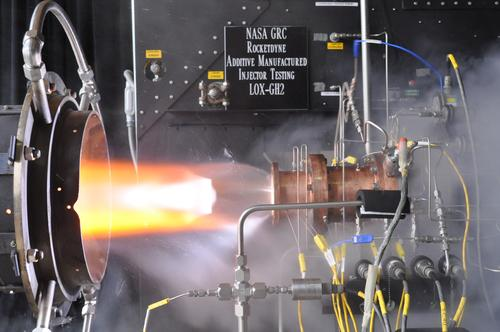 NASA and Aerojet Rocketdyne have completed hot-fire tests on a rocket injector assembly made with a selective laser melting 3D printing process and powdered metals.(Source: NASA Glenn Research Center)