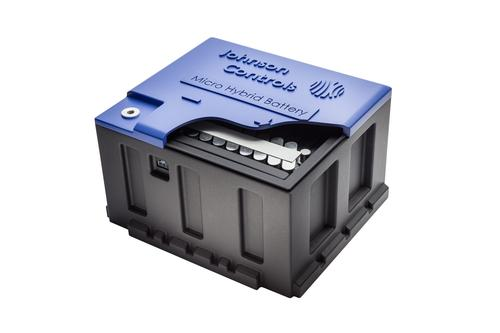 Employing a dual-voltage architecture, Johnson Controls' Micro Hybrid battery system would use a low-voltage lead-acid battery and a 48V lithium-ion unit. The system could boost fuel economy by 15 percent. (Source: Johnson Controls Inc.)