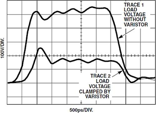 The response of a ZnO varistor to a fast risetime pulse of 500ps shows why the MOV is the protection device of choice, especially on power lines.