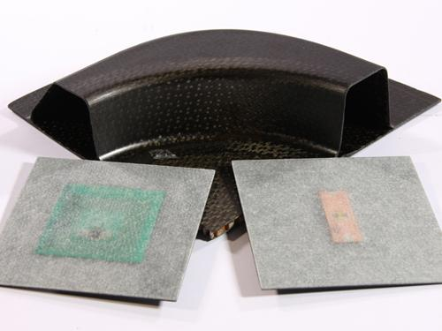 The Fraunhofer Institute for Integrated Circuits has demonstrated the ability to embed RFID tags with ultra-thin antennas inside components made of carbon-fiber-reinforced composites, such as aircraft wings. The technique is also being investigated for composite structural health monitoring.(Source: Fraunhofer Institute for Integrated Circuits)
