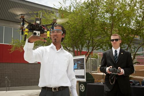 UNLV mechanical engineering students work on the variable-pitch Quadrotor, which can monitor, visually or through sensors mounted on the device, various environmental conditions in areas where humans cannot go. (Source: University of Nevada, Las Vegas)