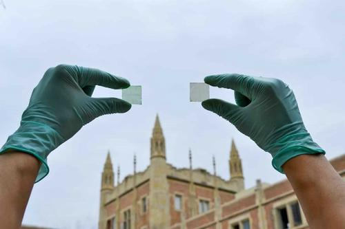 UCLA researchers have developed photovoltaic cells with twice the energy-harvesting capacity of cells they developed in 2012. The cells, which can be processed to be transparent or in shades ranging from light green to brown, could be used to turn building windows, smartphone screens, car sunroofs, and other surfaces into sources of solar energy.  (Source: UCLA)