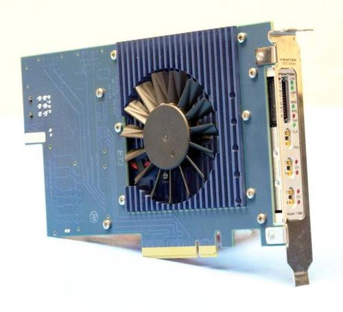 Figure 3. An active-cooler heat sink, attached through a cutout hole in the PCIe adapter card, effectively removes heat from the hot components on the inside surface of the attached XMC.