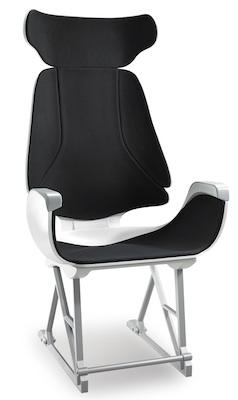 This aircraft seat by designer Gerda Hopfgartner was built in ULTEM 9085 thermoplastic on Stratasys' Fortus 3D production system, then finished with paint and upholstery.