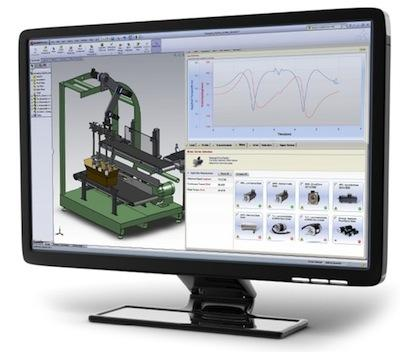 Motion Analyzer image shows the integration of Motion Analyzer and SolidWorks 3D CAD models in prototyping and application testing.