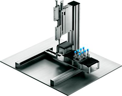 Gantries using parallel kinematics, like the Festo EXCM 30 shown here, are being used to make next-generation lab automation systems smaller, lighter, and faster.   (Source: Festo)