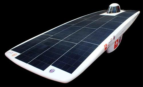 A carbon-fiber solar car was developed and built using high-tech materials last year for the Latin American solar race. The vehicle won the 1,400 km race, reaching 120 km/hr at a weight of 190 kg. It also won the Atacama Solar Challenge in 2012 and will take part in the World Solar Challenge in Australia in 2013. 