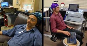 University of Washington researcher Rajesh Rao, left, plays a computer game with his mind, while across campus, researcher Andrea Stocco, right, wears a magnetic stimulation coil over the left motor cortex region of his brain. Stocco's right index finger moved involuntarily to hit the 'fire' button of the game as part of the first human brain-to-brain interface demonstration.  (Source: University of Washington)