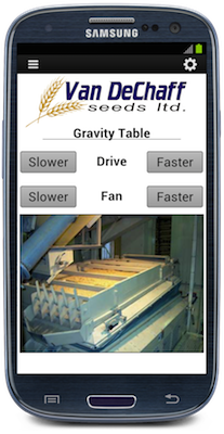 One Step Automation mobile HMI provides a simple interface to adjust the motor speed of variable frequency drives used in grain production.  (Source: Opto 22)