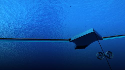 Dassault Systemes 3D mock-up of the ocean filter concept from under water.   (Source: The Ocean Cleanup)