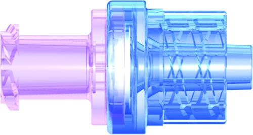 Anti-siphon check valve: female locking luer to male luer.