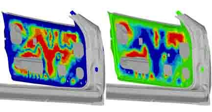 The topography of an inner door panel has been optimized for a door slam event using the Equivalent Static Loads (ESL) method, a way of representing a transient dynamic event with a static load history. The OptiStruct application in Altair's HyperWorks CAE suite reduced panel displacement by 19 percent. As side door panels get thinner and lighter due to changes in materials this type of optimization becomes more important.