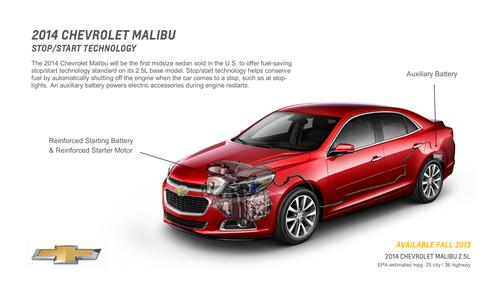 The 2014 Chevy Malibu offers start-stop technology by employing lead-acid batteries in the front and rear.   (Source: General Motors)