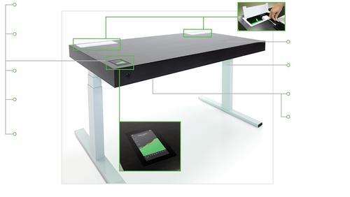 The Stir Kinetic Desk allows the worker behind it to go from sitting or standing with the tap of a touchscreen.   (Source: Stir)