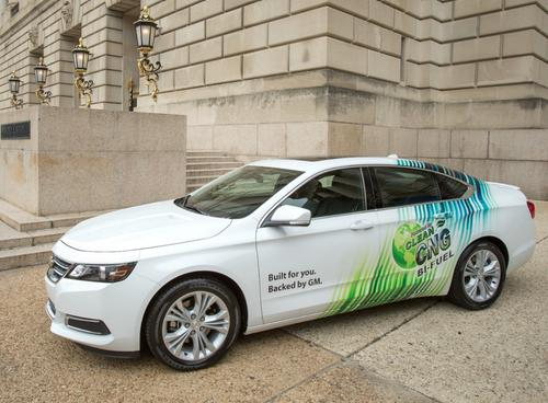 The 2015 Chevrolet Impala will feature optional bi-fuel capability. Using compressed natural gas, it will offer a 150-mile range. A gasoline fuel tank will provide an additional 350 miles.   (Source: Chevrolet)