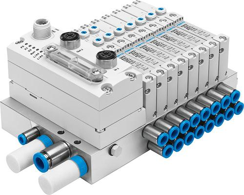 The new VTUG pneumatic valve terminal from Festo provides more control options in a compact package, making it a good option for standardization on one terminal.   (Source: Festo)