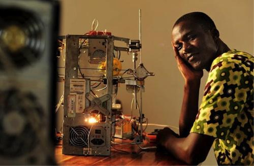 This item wasn't made using a 3D printer, but it will help those in less fortunate countries. Kodjo Afate Grikou, a 33-year-old in the African naiton of Togo, used his imagination, talent, and ambition to create the first 3D printer built entirely out of e-waste and scrap metal. He funded his project on the European social funding website ulule this year. The W.Afate project received more than $5,500. The printer cost him only about $100 to build. He hopes members of his community will print things like basic kitchen wares that aren't relatively available in West Africa. He also hopes that the printer will give young people hope and help answer the question 'Why is Africa always lagging behind when it comes to technology?'(Source: Hackaday.com)