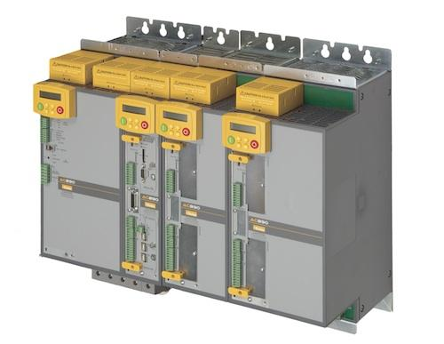 This drive system is made up of a common bus supply and several common bus drives in a space-efficient configuration.