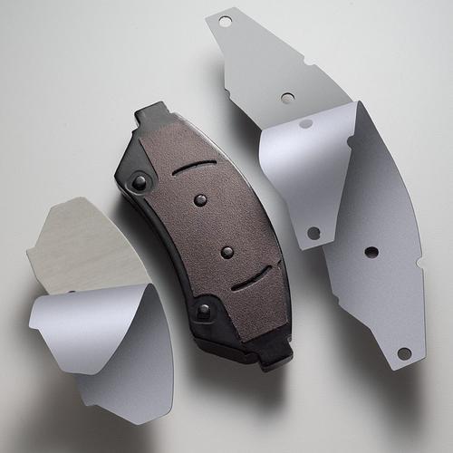 Ultra-thin high-performance acrylic tapes find use in brake shims where they provide optimal vibration damping at 41F.   (Source: Avery Dennison Performance Tapes)
