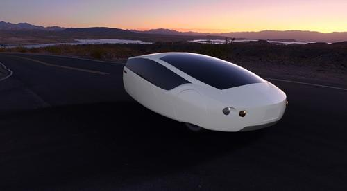 A computer-generated image of the 3D-printed Urbee 2 reveals the shape of the 290-mpg vehicle. Plans are to take it from New York to San Francisco on just 10 gallons of gas.   (Source: Kor EcoLogic Inc.)