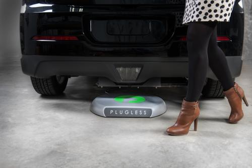 The Plugless system from Evatran uses inductive technology to transfer power wirelessly. When the Parking Pad on the ground aligns with the Vehicle Adaptor (installed on the vehicle's undercarriage) the system awakens and automatically transfers energy across an air gap at power level consistent with those of a Level 2 charger.   (Source: Evatran)