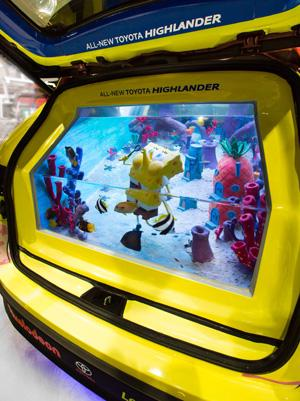 Toyota's 2014 SpongeBob Highlander: Tanked Edition features an 800-gallon saltwater fish tank in back. The rolling aquarium was built by the stars of Tanked, the Animal Planet TV show.  (Source: Toyota)