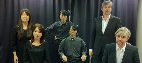 Each talking, gesturing Geminoid has been made to look exactly like a real individual: an unidentified young woman (Geminoid F) far left, their creator Hiroshi Ishiguro (Geminoid HI-2), and professor Henrik Scharfe of Aalborg University in Denmark (Geminoid-DK) far right. 